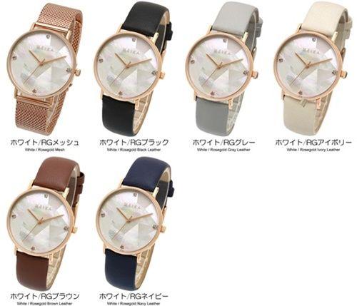 f52e32a0af キラキラ輝くパールの文字盤が美しい革ベルトのレディース腕時計 ...